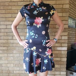 Annex Chinoiserie Black Mini Dress